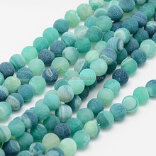 Natural 8mm SeaGreen Frosted Effloresce Agate Stone Ball Beads Gem for Jewelry