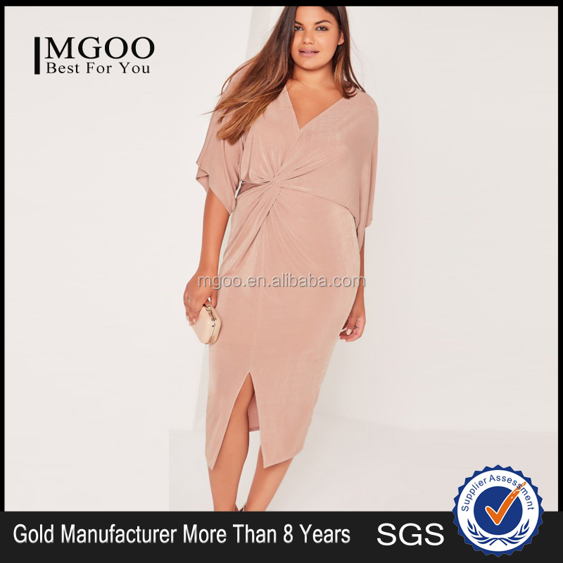 Plus Size Midi Dress Pink Long Sleeve Knot Sexy Elegance Dress Custom Split Hem Dress