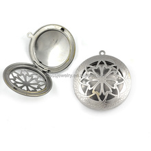 Living Memory Round Pendant Aromatherapy Floating Brass Hollow Charm Locket