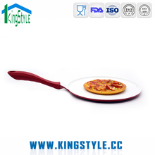 Die cast aluminum white ceramic coating pizza stone pan, round nonstick pizza pan with handle
