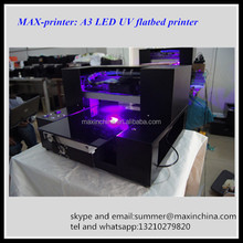 MAX 8 Colors A3 Size UV LED Flatbed Printer For Printing on PVC Card Ceramic