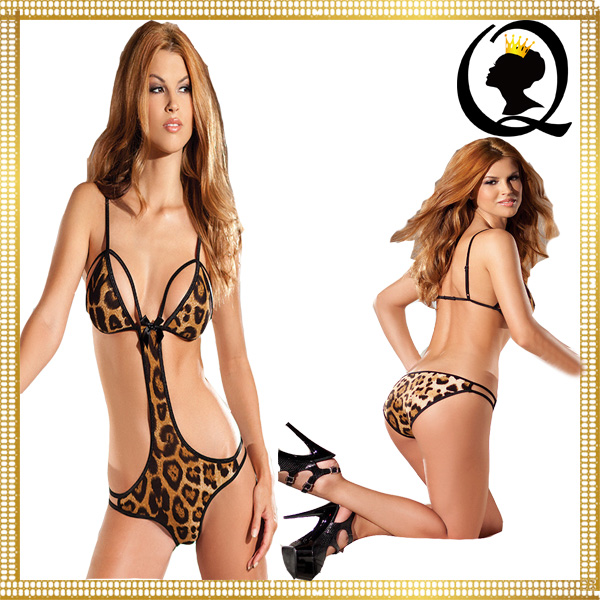 The seductive girls wearing teddies wild woman sexy stretch leopard print teddy lingerie