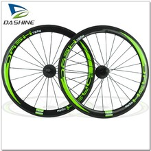 50mm 3k glossy road bike wheels green colored carbon rims with novatec 291 light hubs