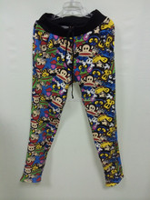 2015 latest cartoon patterned female trousers, long shirts trousers for women