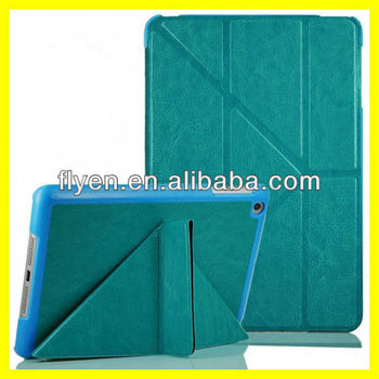 Deluxe Untra Slim Folding Case Cover for iPad mini Smart folded PU Leather Cases Covers for Apple iPad mini w Y Stand Light Blue