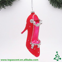 Peach high heel shoe shape christmas blown glass ornament for hanging christmas