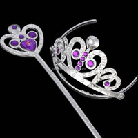 High quality Frozen gemstones crown frozen tiara and magic wand set