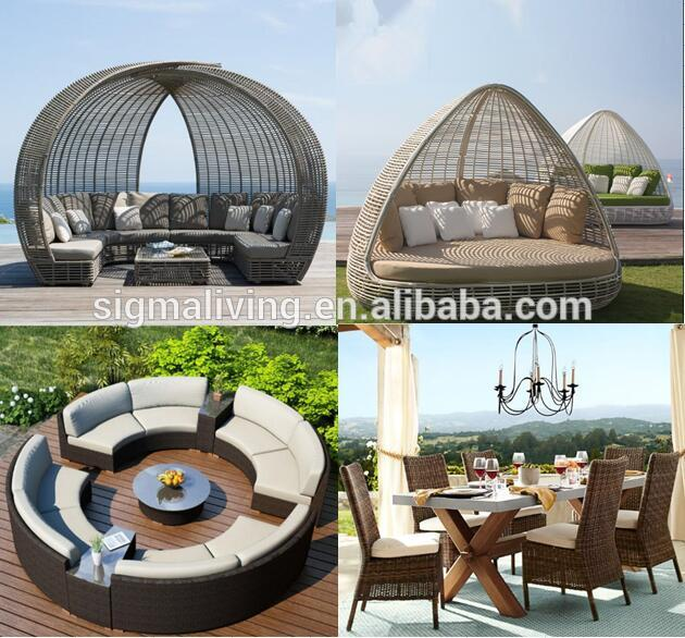 Modern wicker outdoor garden table and bench set furniture