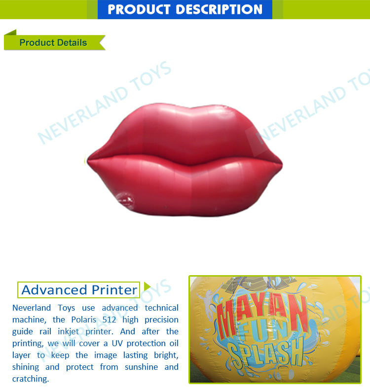 Passionate Red Inflatable Decoration Lip For Activity