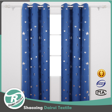 One pair blue Blackout Curtains Sliver Star Print Solid Blackout Curtain