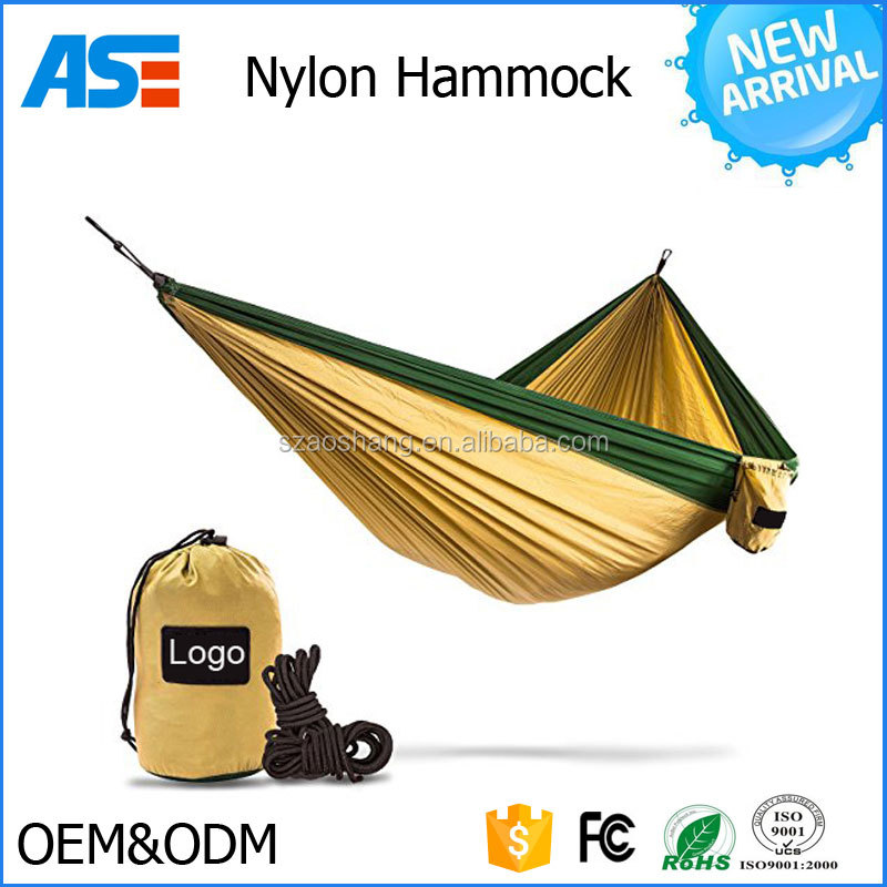Wholesale Portable Outdoor Travelling Camping Parachute Nylon Hammock with Hammock Straps