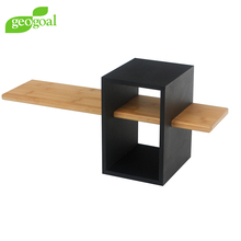 Modern Design Decorative Wall Hanging Cube with Solid Bamboo Shelf Display Wall Shelf