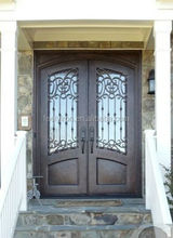 Decorative double entry iron doors with operable glass panel FD-371