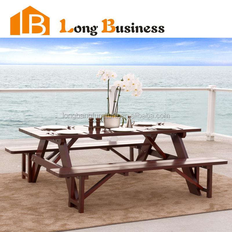 LB-HS2015 Solid wood waterproof beach dining table