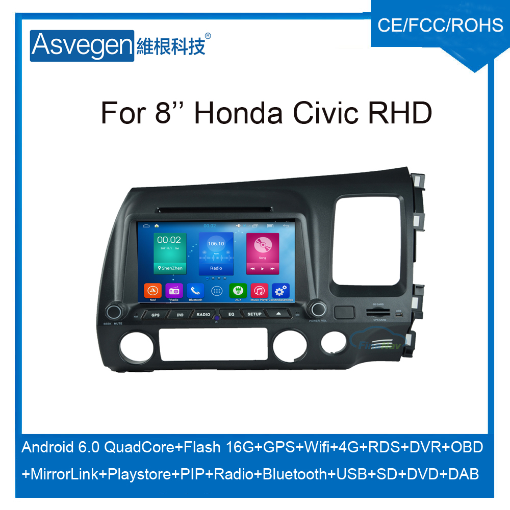 Android Car DVD Player For 8inch Honda Civic R.H.D Accessories Car GPS Support Buletooth Radio Wifi Playstore