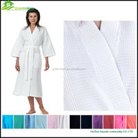 Waffle bathrobes cotton long sleeve evening gown100% cotton inside waffle robe summer bathrobe
