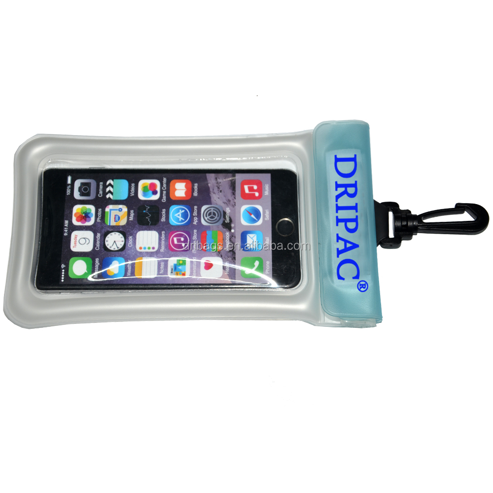 TPU mobile phone waterproof float pouch with plastic hook for surfing jacket