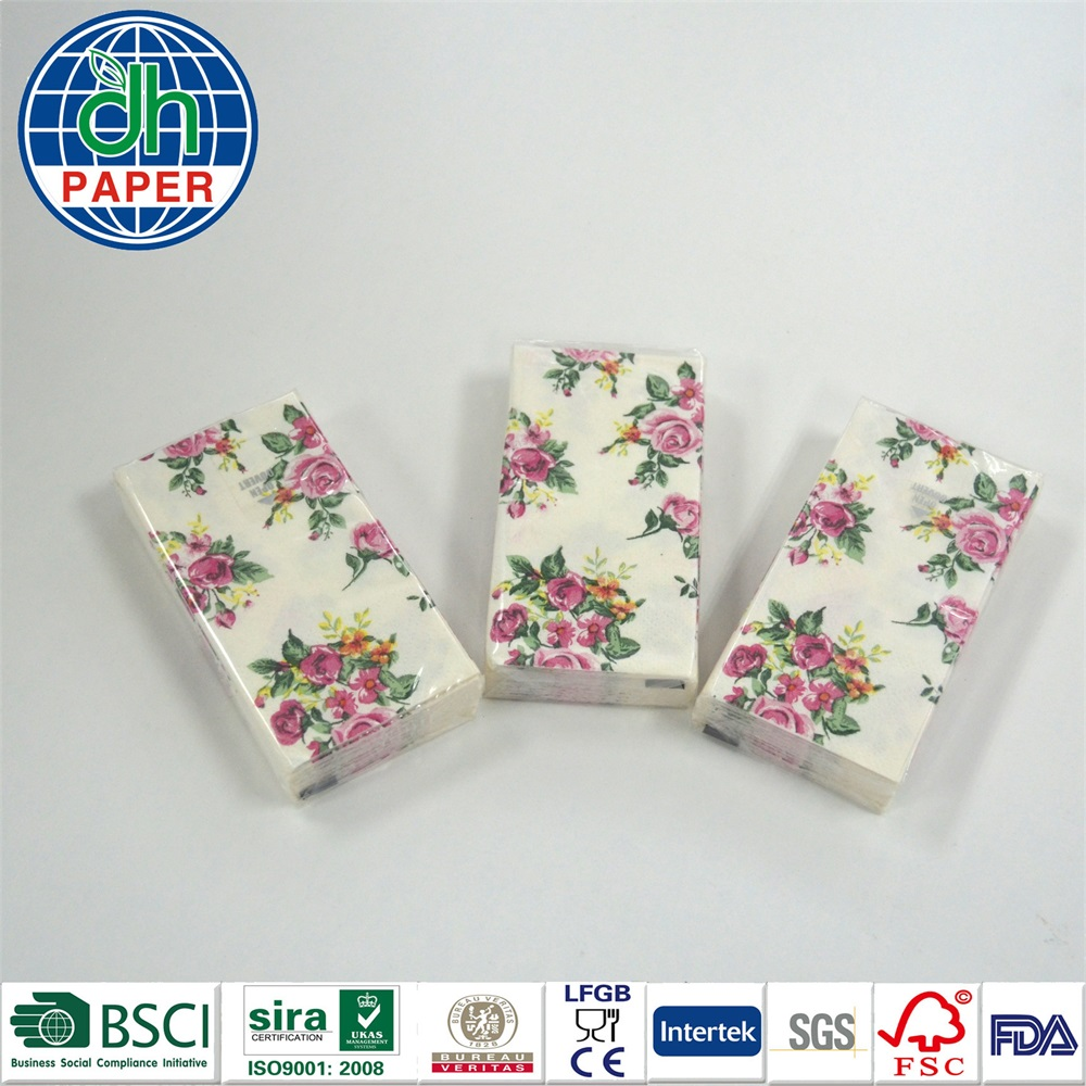 Flower pattern printing nice tissue paper pocket tissue paper