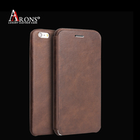 High quality ultra slim wallet genuine leather case for iphone6 plus