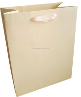 cream plain color paper shopping gift paper bag with ribbon handle