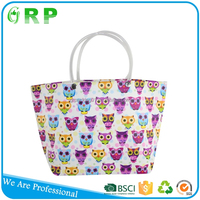 Hot sell new products folding flower design women pp woven shopper bags