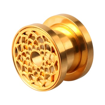 Luxury Gold Plated Flower Hollow Pattern Flesh Tunnel Ear Expander Fashion Ear Piercing Jewelry