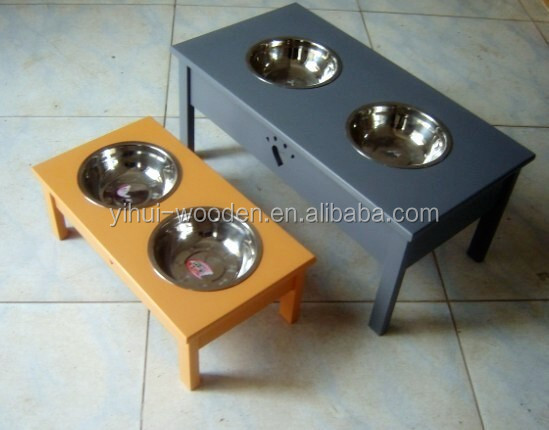 wooden pet dish holder with stainless steel bowl / wooden dog dishes bowl / wood pet bowl dish