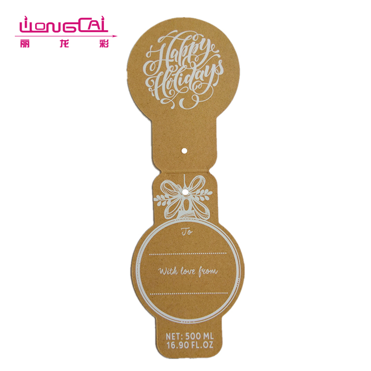 Custom design durable recycled folded clothes kraft paper hang tag