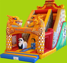 Lovely panda inflatable slip and slide, inflatable jumping bounce and castle