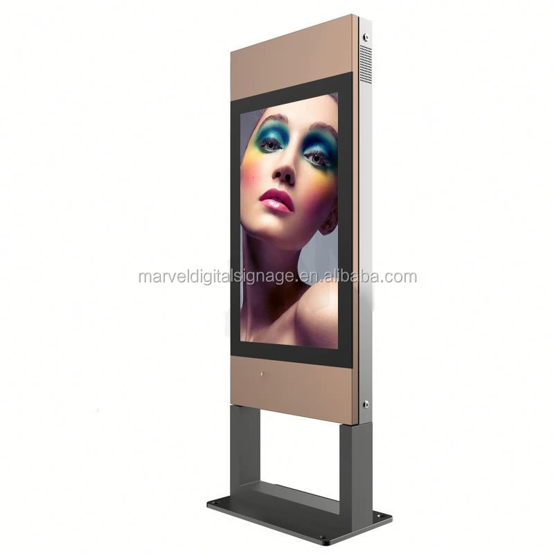 marketing advertising full color digital signage metal kiosk outdoor lcd display