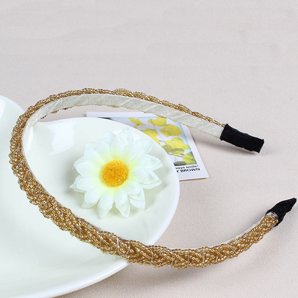Fashion plastic 6 colors winding seed beaded elastic hair band