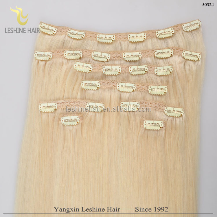 tangle free New arrival wholesale price indian human hair 220g remy clip in hair extension
