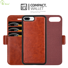 All In One Detachable Magnet Card Holder Leather Flip Phone Case For Apple iPhone 8 Plus