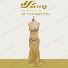 Gold color V-backless a line floor length beaded sequins and paillette evening dress