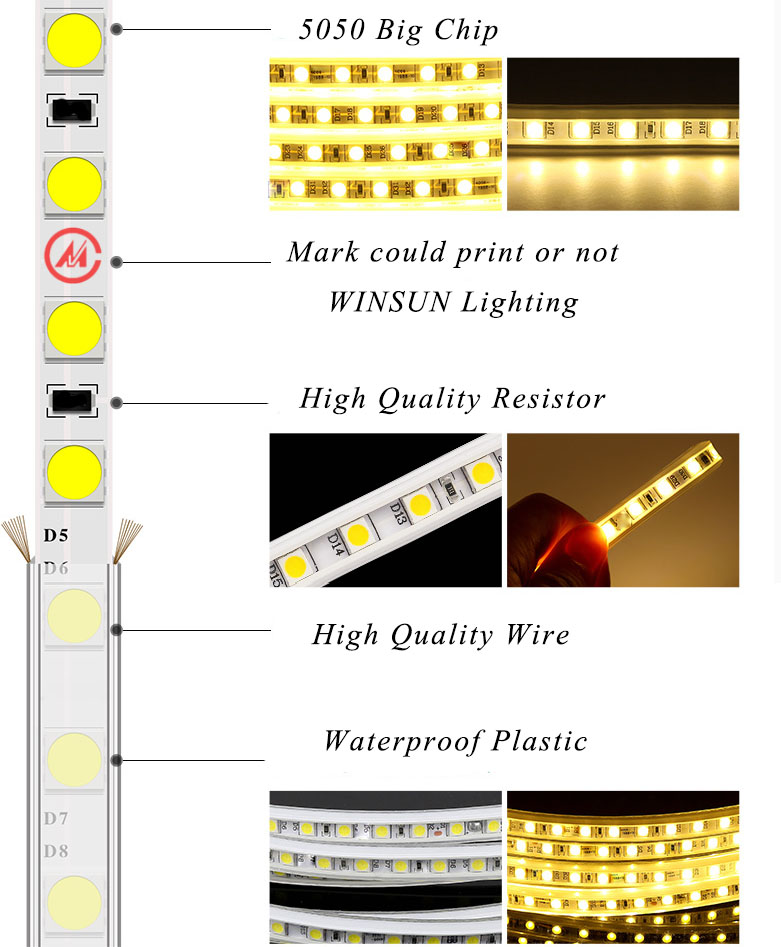 high voltage 60 leds/meter Warm White color flexible 3528/2835 SMD strip Led light 220v 110v IP65