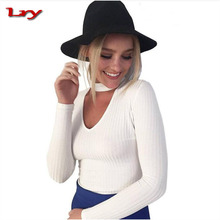 The Lastest Design Autumn Winter Knitted Sweater White Sexy Pullover Women Tops Slim Long Sleeve Woman Clothing