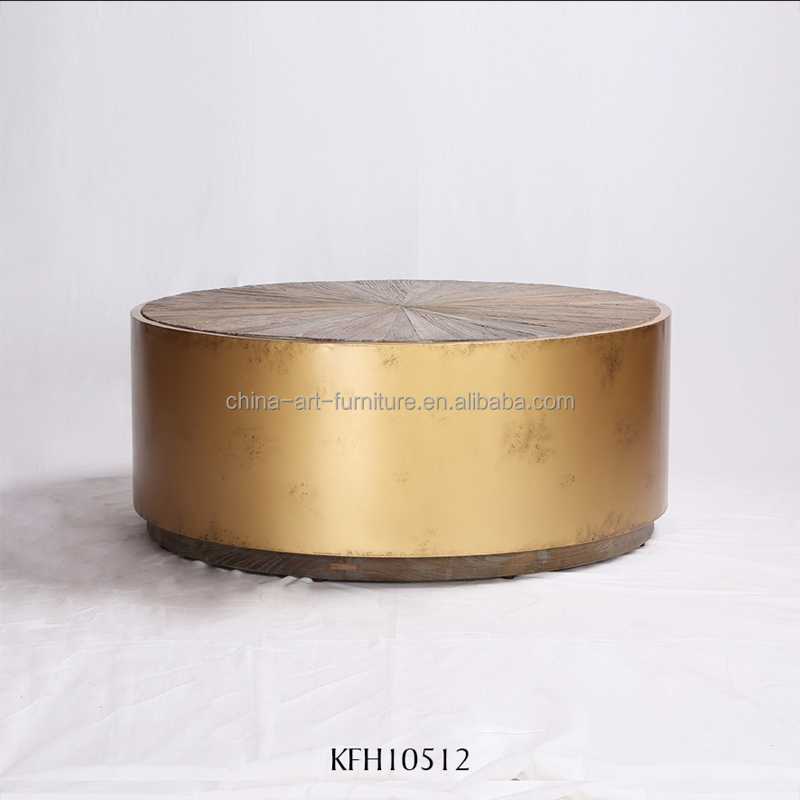 Latest designs coffee table with wooden top and metal base, round tables, industrial style living room furniture