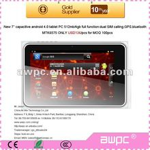 "cheap 7"" android 4.0 capacitive tablet pc with dual webcams 0.3/3mp"