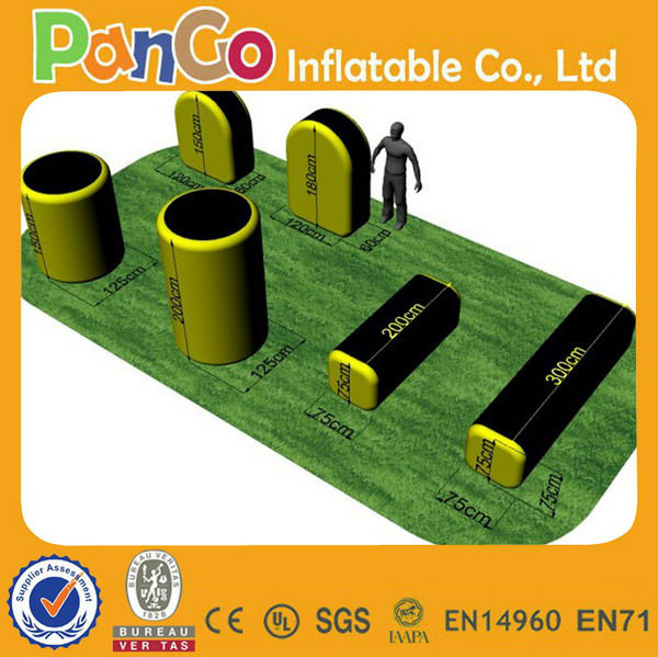 Inflatable paintball bunker assemble