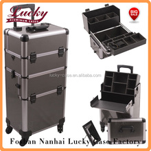 Professional 2n1 Aluminum Rolling Hairstylist Makeup Case 4 Wheel Trolley Case