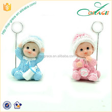2016 baby shower souvenirs resin name card holder baby figurine with metal clip