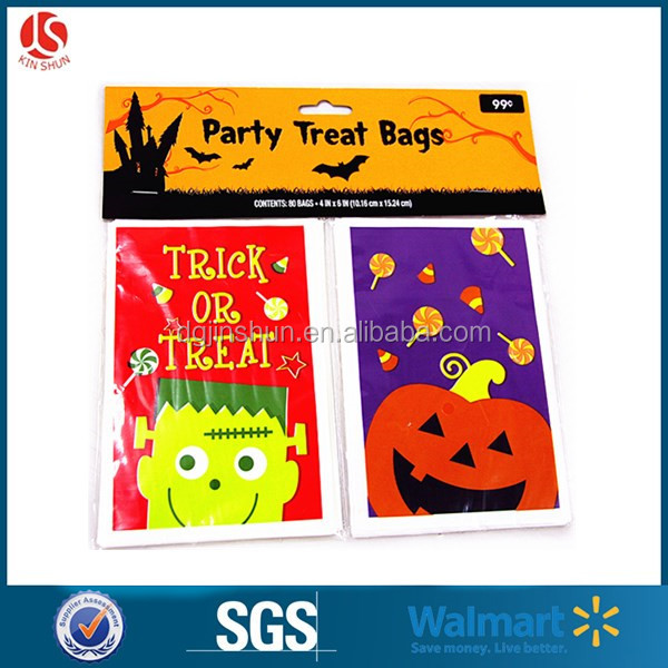 Plastic trick or treat gift candy packaging bag, pumpkin design