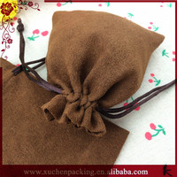 Jewelry gift drawstring string faux suede bag