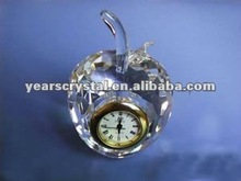 Arrival apple shape crystal glass desk clock for wedding favor clock(R-1222