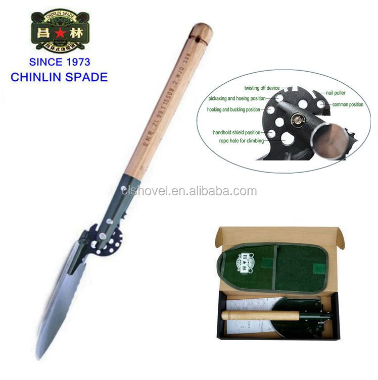 Alibaba Chinese military folding shovel with holes during heated stainless steel shovel