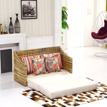 Best Selling Rattan Wicker Living Room Furniture New Model Two Seat Fold Down Floor Sofa Cum Bed