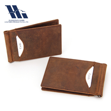 2018 new special design genuine leather slim leather moeny cli wallet with metal clip