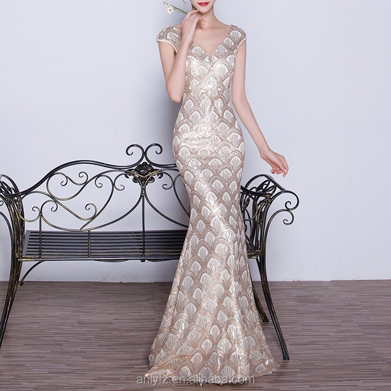 Anly hot selling fashion beaded deep v sleeveless sequins long evening dress for women