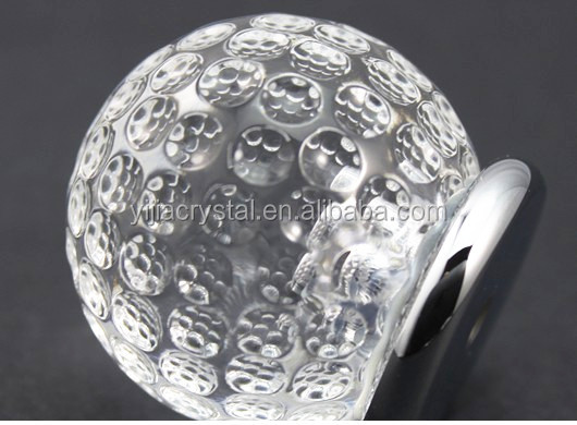 Factory wholesale custom sizes K9 crystal golf shaped crystal glass furniture cabinet knob 40mm