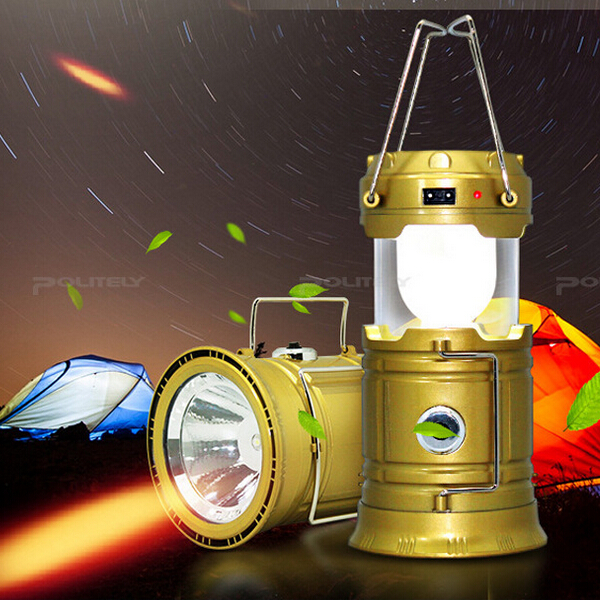 High Quality Portable Solar Rechargeable LED Camping Lamp Lantern